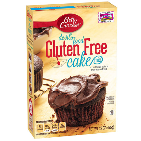 A packet of gluten free chocolate cupcake mix
