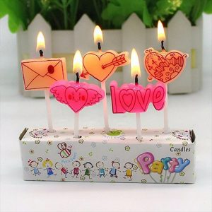 A set of 5 candles celebrating Love