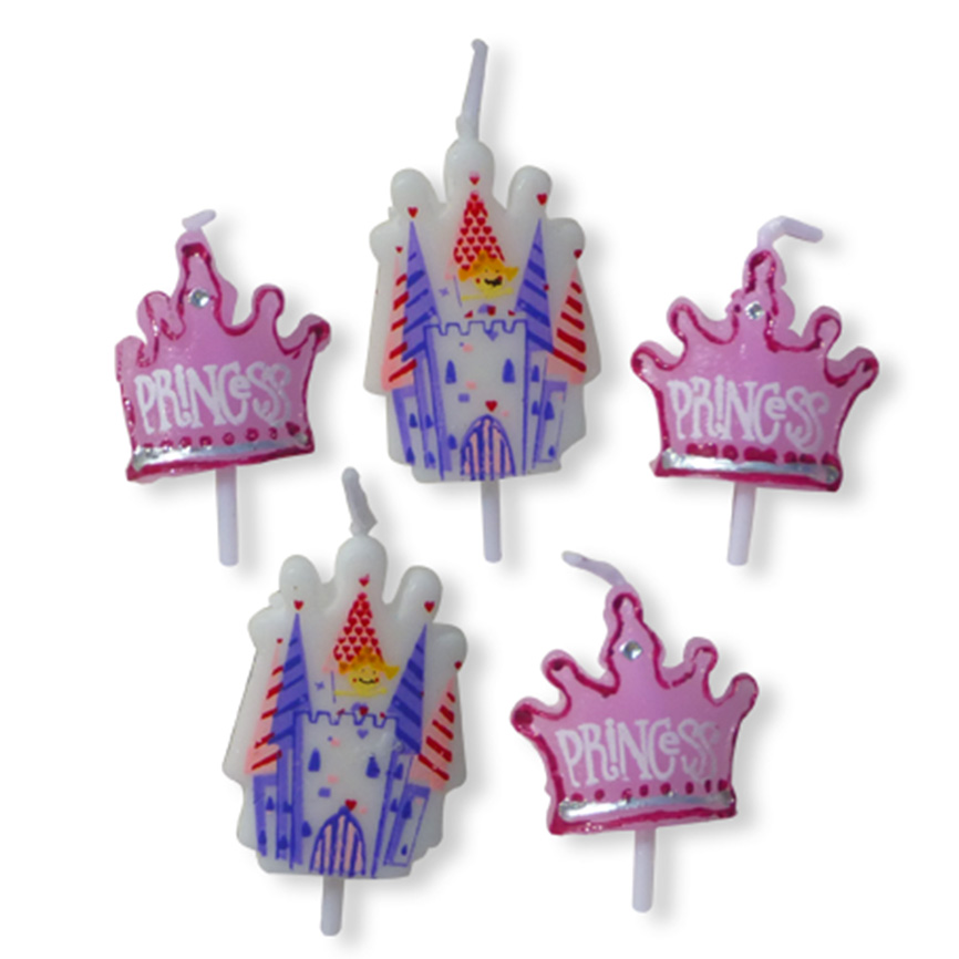 5 Princess Party Candles including crowns and castles