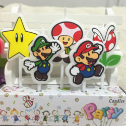5 Super Mario Candles showing different Nintendo characters
