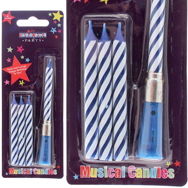 Musical birthday candles blue and white stripe