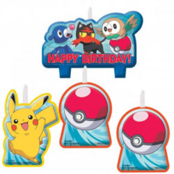 4 Birthday Cake Candles featuring Pokemon Characters & Pokeballs
