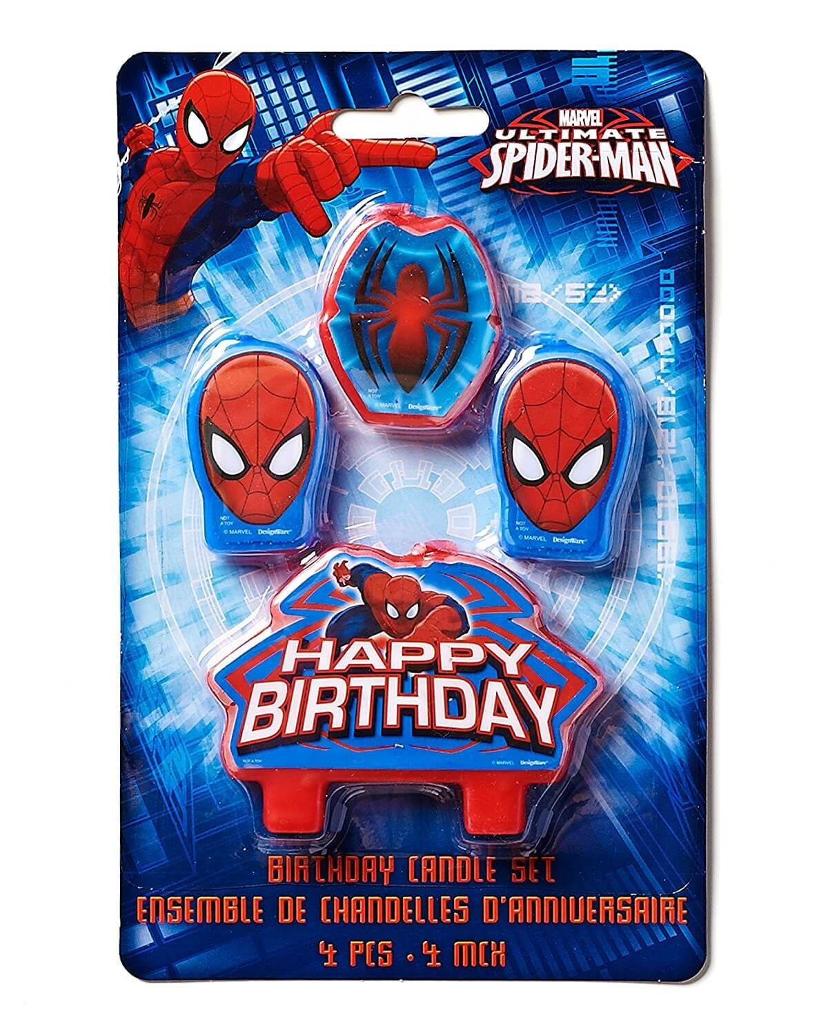a set of 4 spiderman candles in their packaging