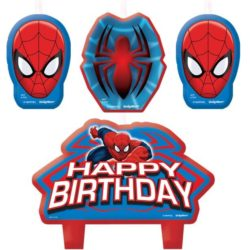 "a set of 4 spiderman birthday cake candles. 2 candles featuring a spiderman maks, 1 featuring a spiderman symbol and 1 featuring Ultimate Spiderman and the words ""happy birthday"""