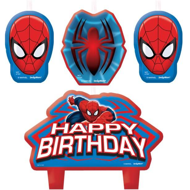 A Set Of 4 Spiderman Birthday Cake Candles 2 Featuring Maks