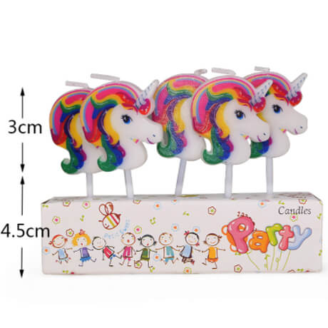 5 individual toothpick candles featuring unicorn heads with rainbow manes suitable for birthday cake or cupcakes