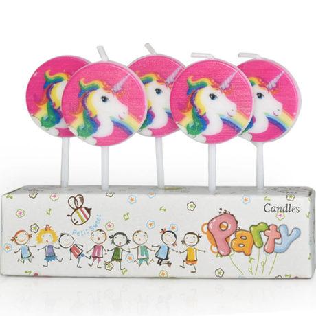 Unicorn Cake Candles with head of unicorn on round pink background